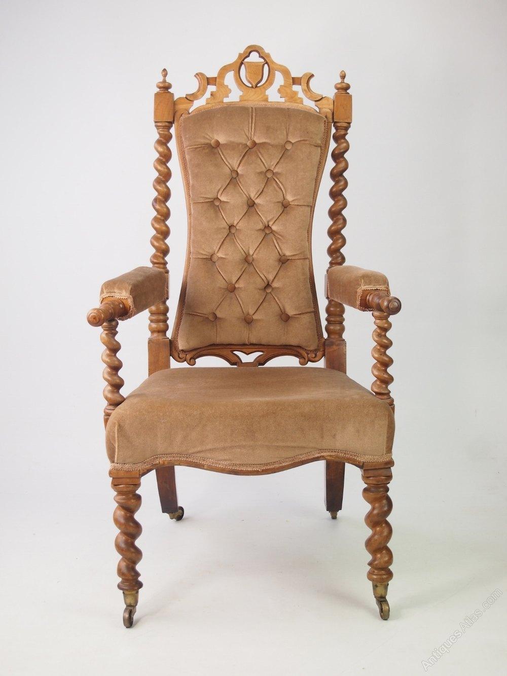 Victorian Gothic Walnut Armchair Or Throne Chair