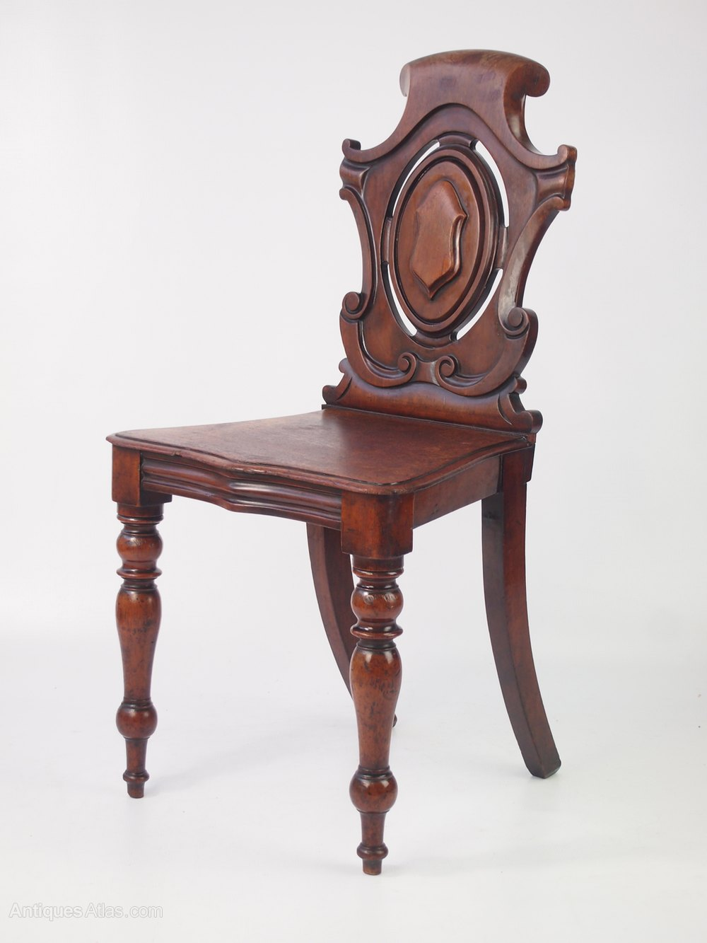 Victorian Mahogany Shield Back Hall Chair Antique Hall Chairs ... - Victorian Mahogany Shield Back Hall Chair - Antiques Atlas
