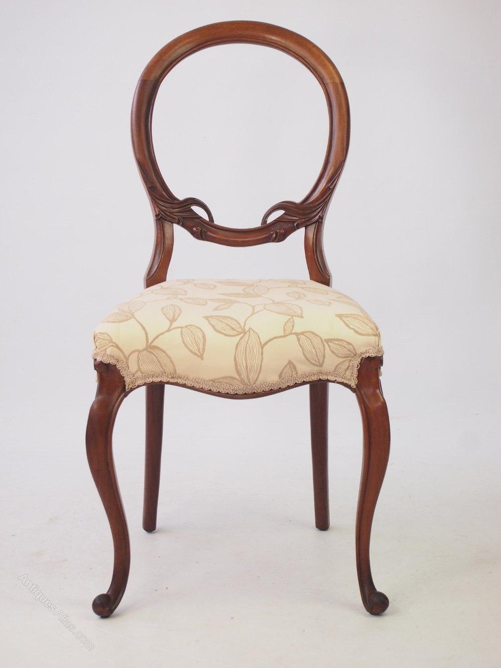Victorian Walnut Balloon Back Chair Antique ...