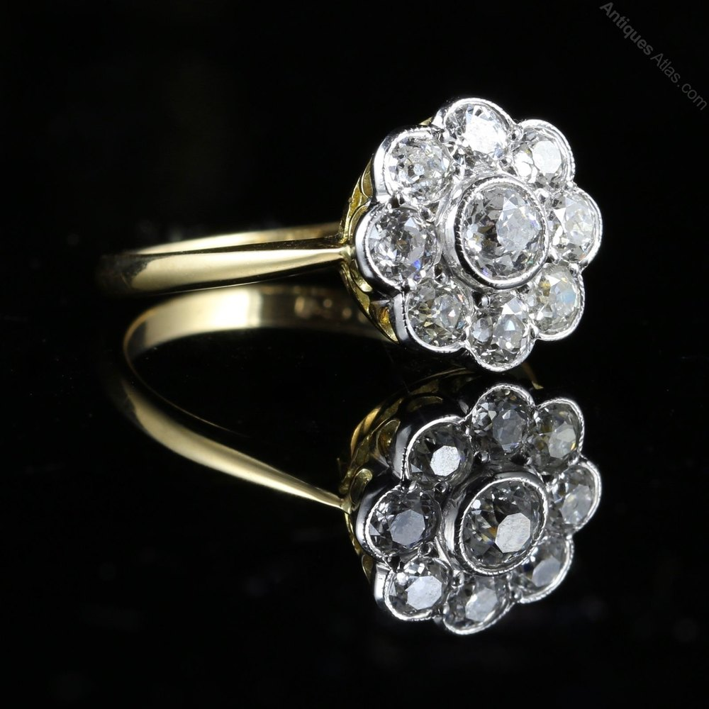 Antiques Atlas Antique Diamond Cluster Ring 18ct Gold 1 54ct