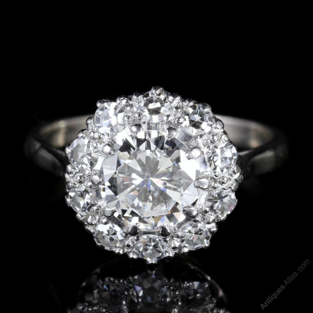 Antiques Atlas Antique Edwardian Diamond Cluster Ring 2 60ct Plat