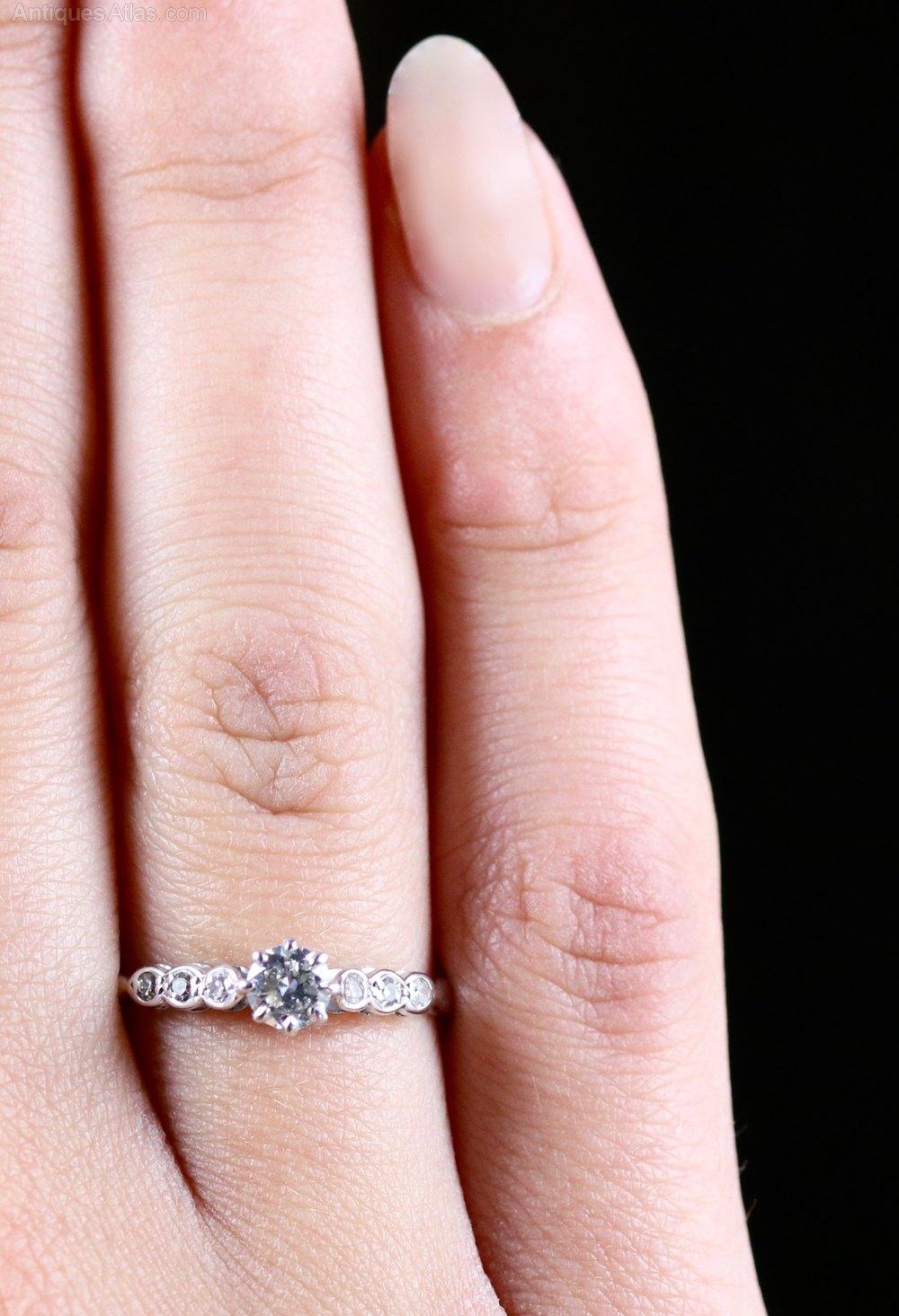 Antiques Atlas - Antique Edwardian Diamond Engagement Ring 18ct