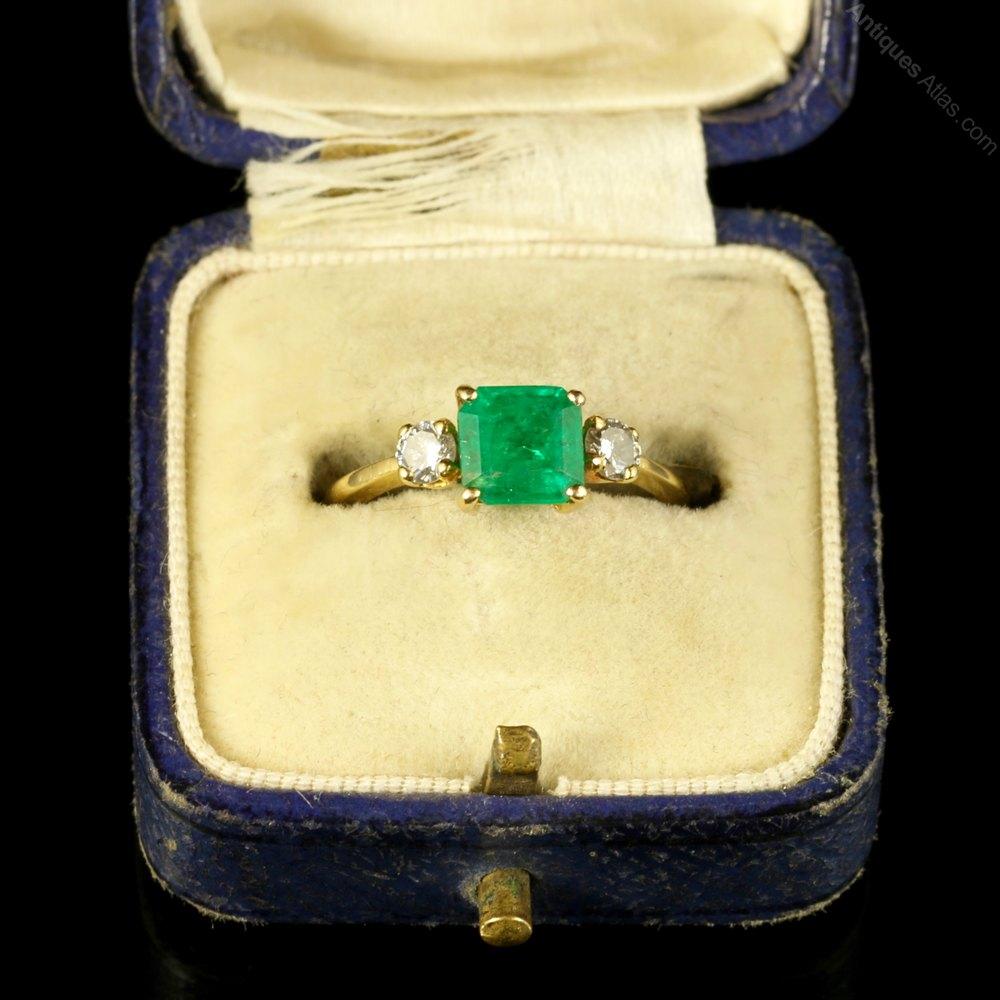 Antiques Atlas Antique Emerald Diamond Ring 18ct Gold