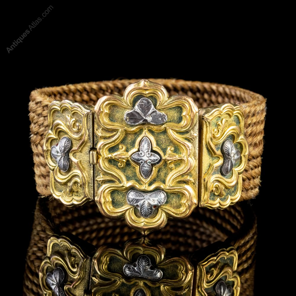 eb947574bbb01 Antique Georgian Mourning Hair Bracelet 18ct Gold