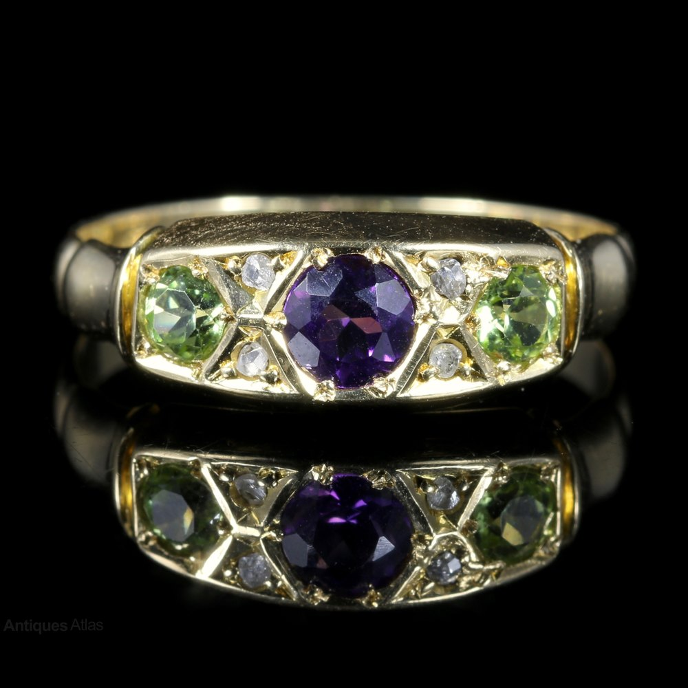 Antiques Atlas Antique Suffragette Ring Amethyst Peridot Diamond