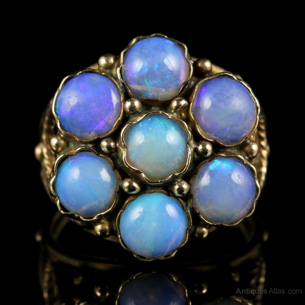 Opal Cluster Statement Rings