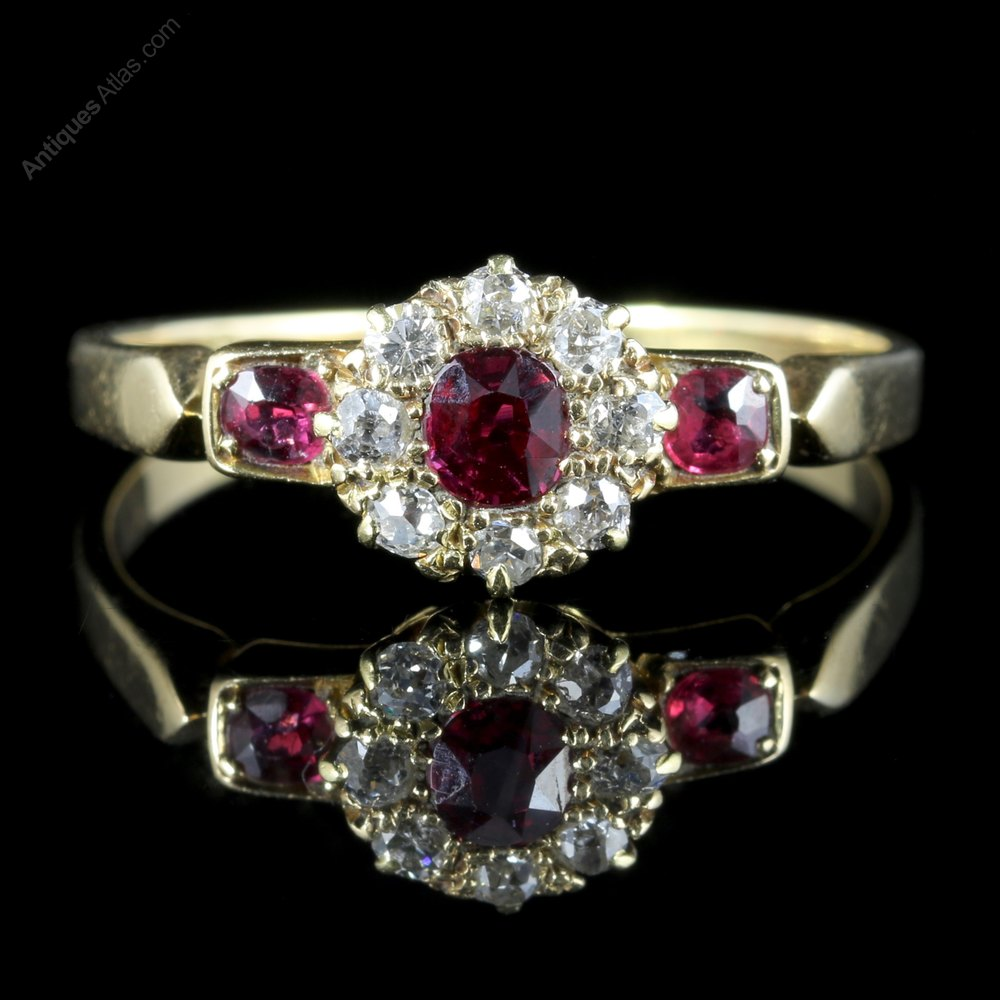 Antiques Atlas Antique Victorian Ruby Diamond Cluster
