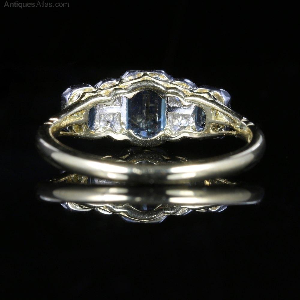 Art Deco Aquamarine Diamond Engagement Ring Antique Engagement Rings