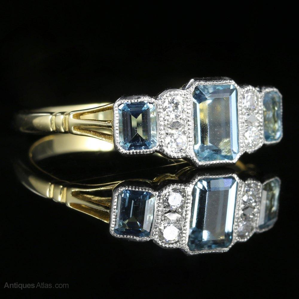 Photos Art Deco Aquamarine Diamond Engagement Ring
