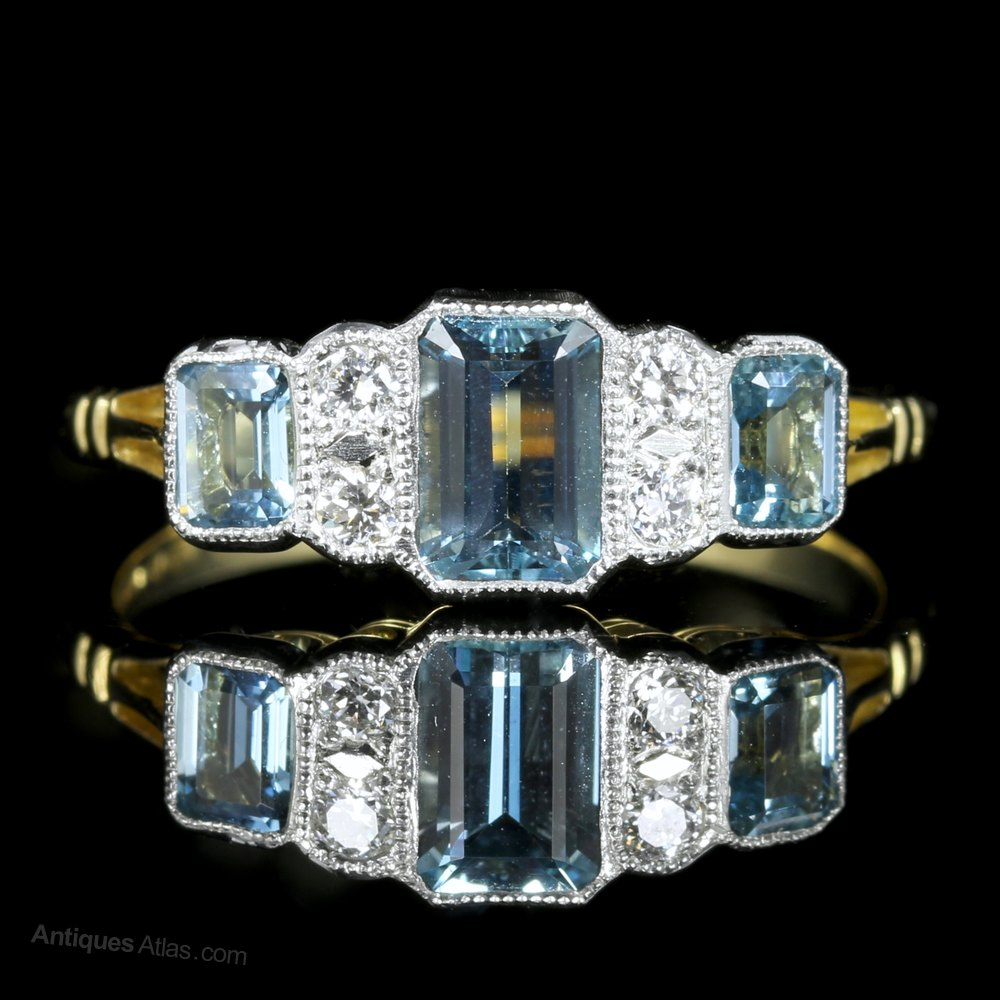 Antiques Atlas Art Deco Aquamarine Diamond Engagement Ring