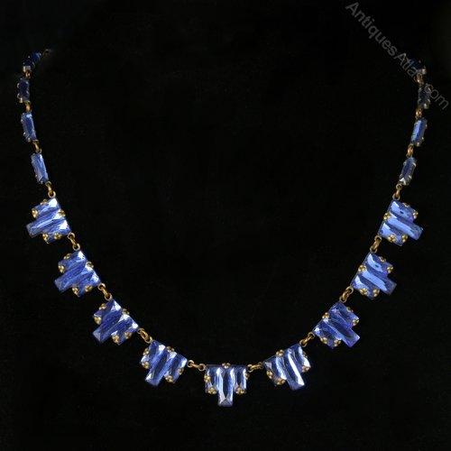 Art Deco Czech Necklace Blue Mirror Glass