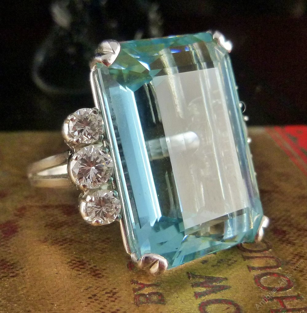 Antiques Atlas Art Deco Emerald Cut Aquamarine Amp Diamond