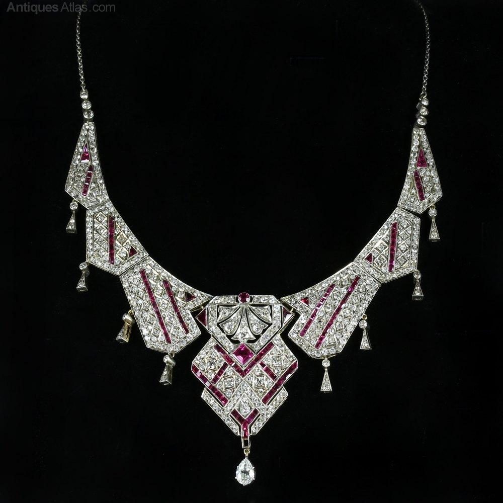 Antiques Atlas Art Deco Platinum Ruby Diamond Necklace