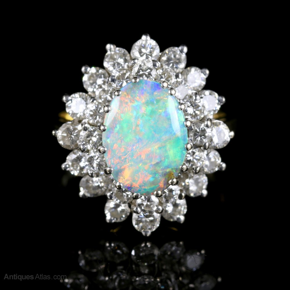 Antiques Atlas Black Opal And Diamond Cluster Ring 18ct Gold