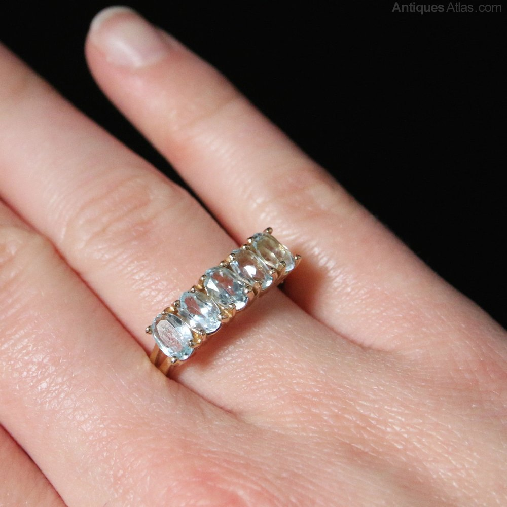 Antiques Atlas - Blue Topaz Five Stone Ring 9ct Gold