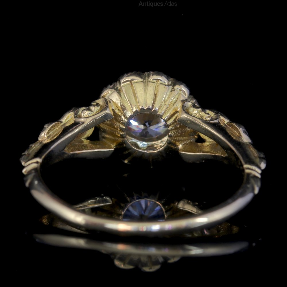 antiques atlas diamond cluster ring 18ct gold engagement