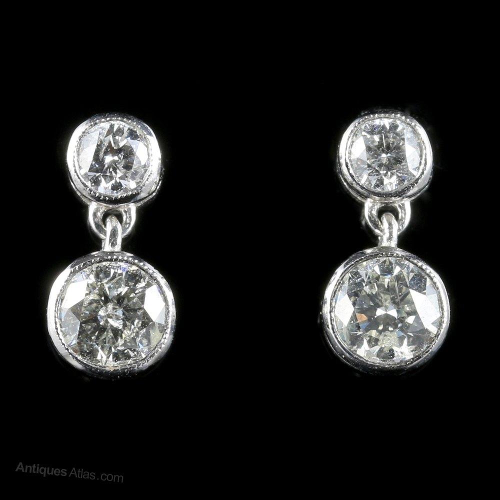 70b9d3265 Antiques Atlas - Diamond Earrings Double Drop 18ct White Gold