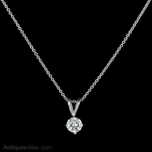 Antiques atlas diamond pendant necklace 18ct white gold 060ct diamond pendant necklace 18ct white gold 060ct aloadofball Images