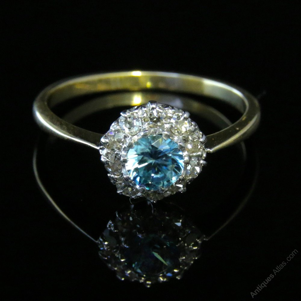 Antiques Atlas  Edwardian Blue Zircon & Diamond Cluster Ring. Vintage Two Tone Engagement Rings. Travel Bracelet. Filigree Pendant. Friendship Bands. Coper Rings. Child Chains. Ornament Necklace. Masonic Rings