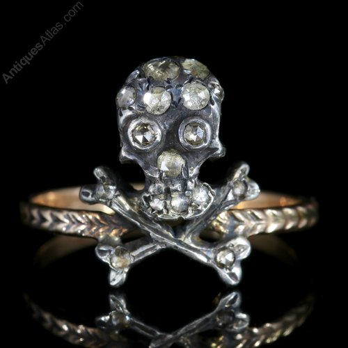 Antiques Atlas Memento Mori Diamond Skull Cross Bones Ring