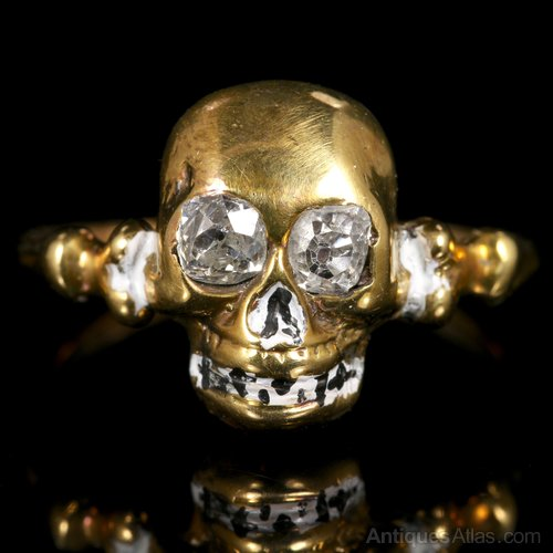 Diamond Antique Enamel Skull Ring