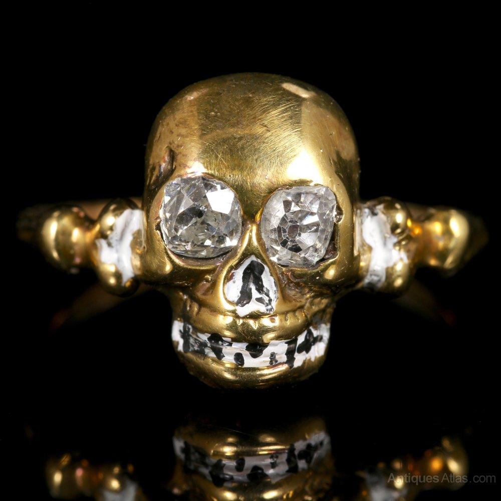 Diamond Antique Enamel Skull Ring
