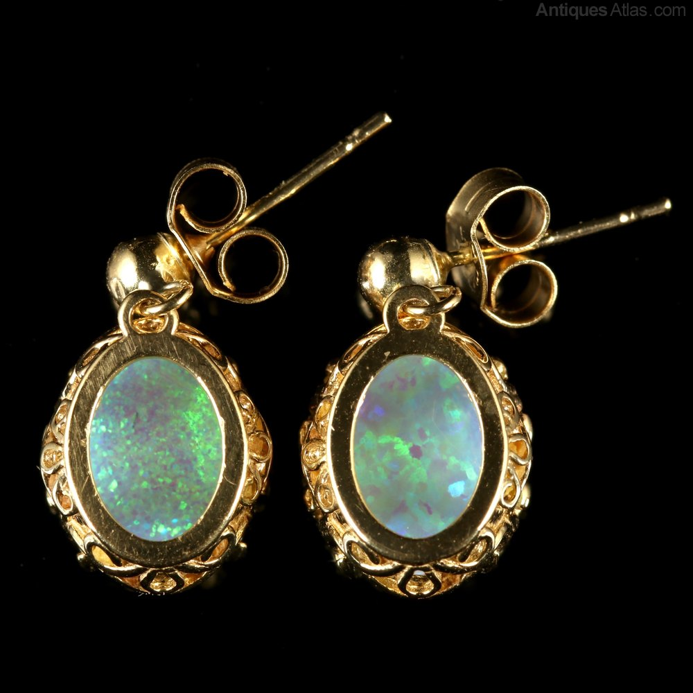 9ct Gold Opal long Teardrop earrings AnBI0NP5l