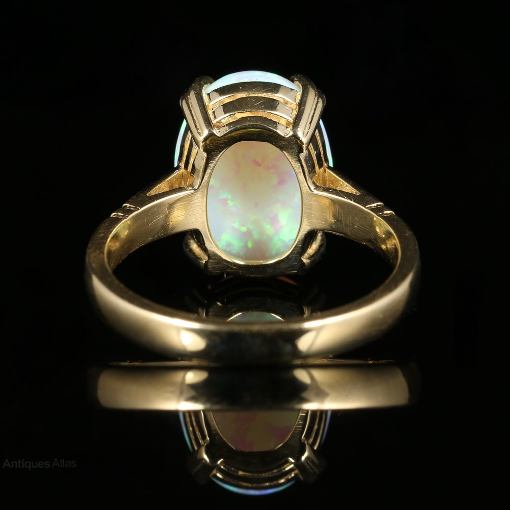 antiques atlas opal 9ct gold ring 6ct opal style