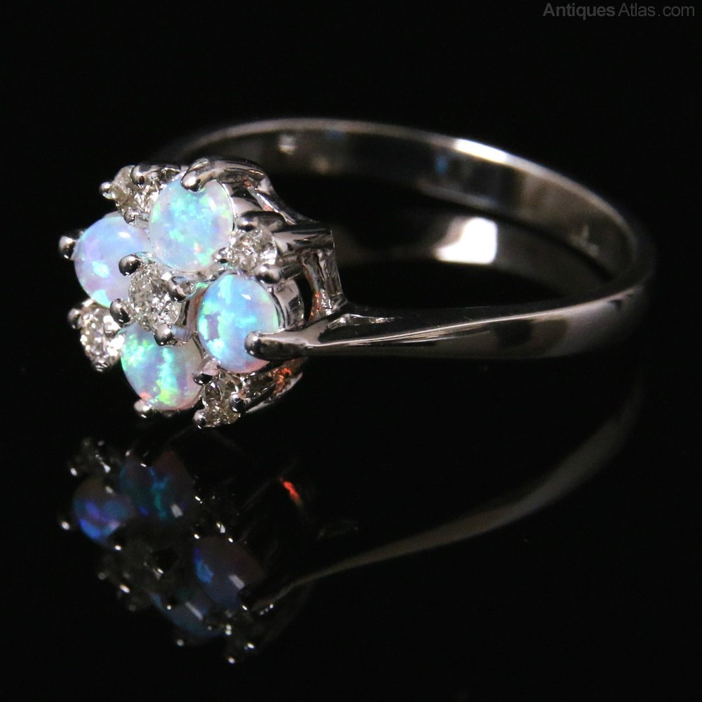 Antiques Atlas Opal Amp Diamond Cluster Ring White Gold