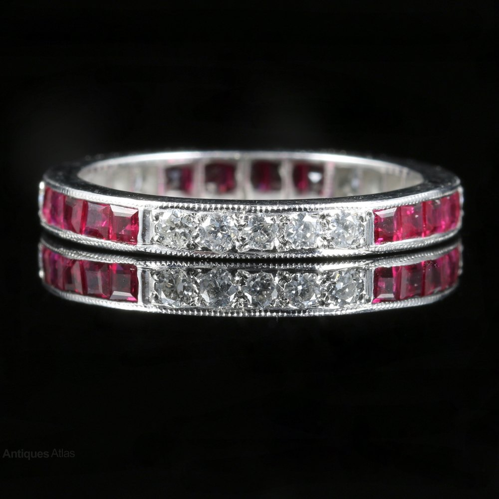 Antiques Atlas Ruby Diamond Eternity Ring 18ct White Gold