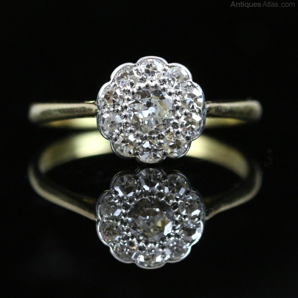 Antiques Atlas Victorian Diamond Cluster Ring 18ct Gold