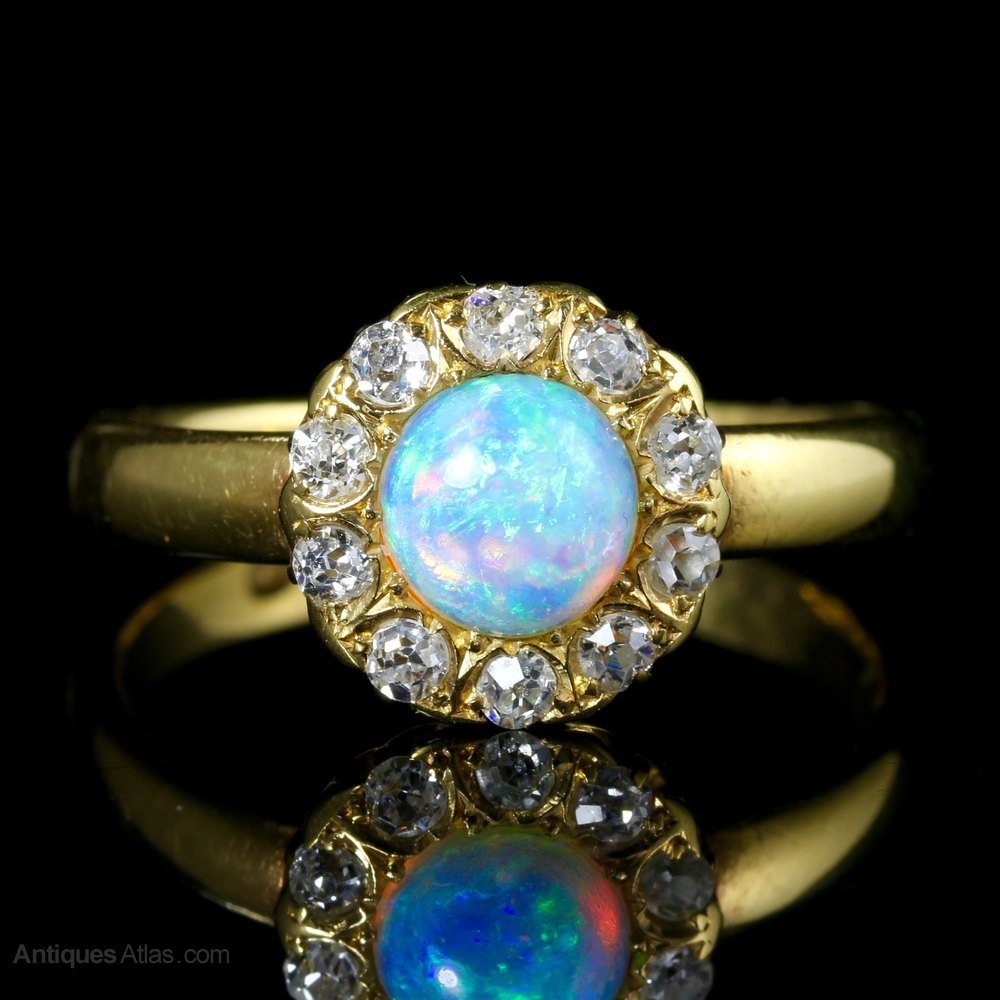 Antiques Atlas Victorian Opal Diamond Ring 18ct Gold