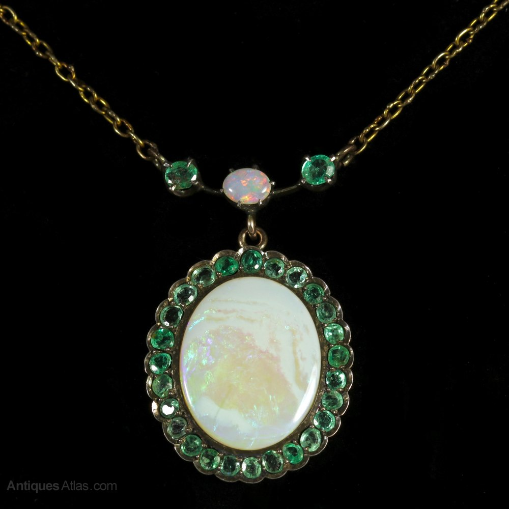 Antiques atlas victorian opal emerald gold necklace circa 1900 victorian opal emerald gold necklace circa 1900 aloadofball Choice Image