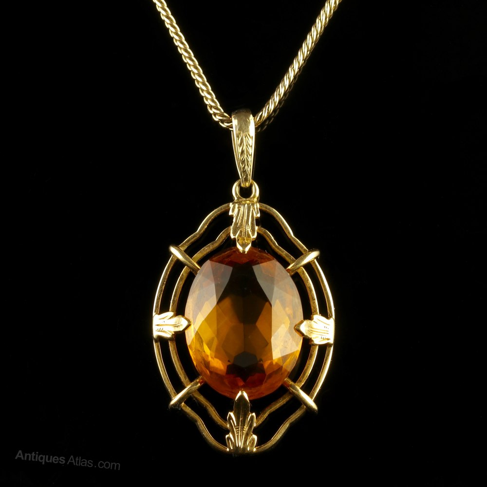 Antiques atlas vintage citrine pendant and chain 14ct gold 1950 vintage citrine pendant and chain 14ct gold 1950 mozeypictures Image collections