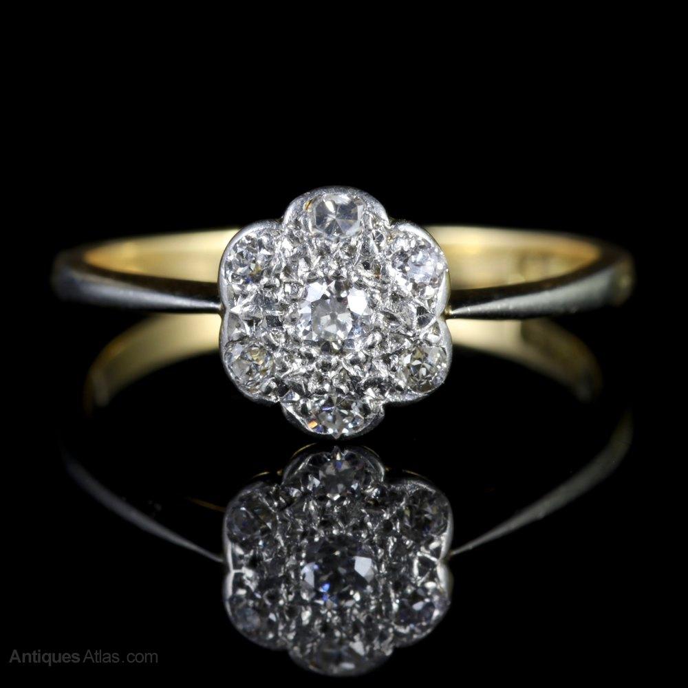 Antiques Atlas Vintage Diamond Cluster Ring 18ct Gold