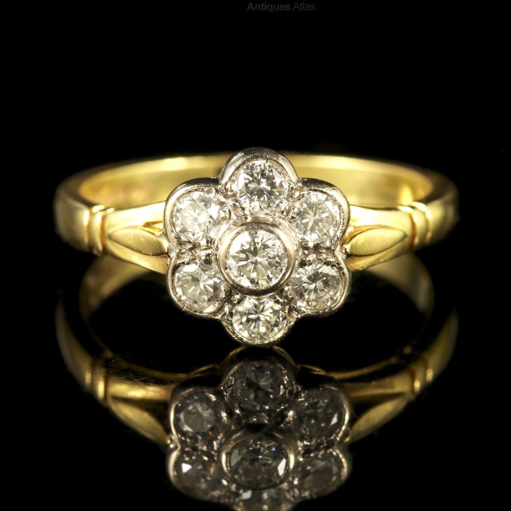 Antiques Atlas Vintage Diamond Cluster Ring 18ct Gold