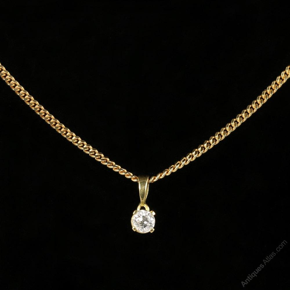 Antiques Atlas Vintage Gold Diamond Pendant Necklace