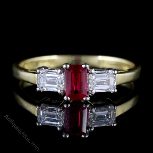 2f07858a56f99 Vintage Ruby Diamond Engagement Ring 18ct Gold