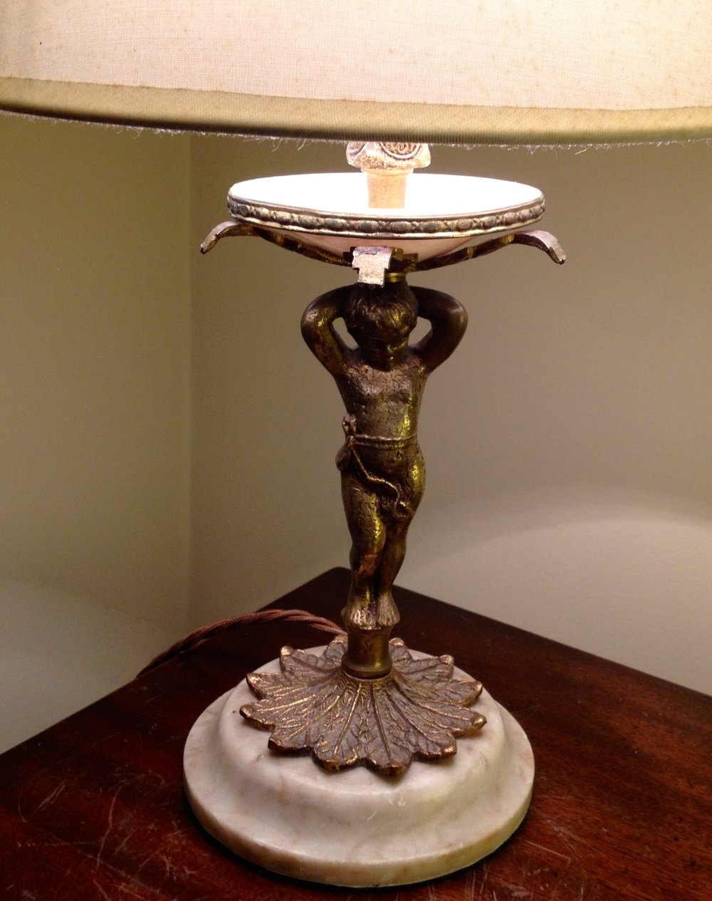 Antiques Atlas 1800 Cherub Bronze On Marble Table Lamp