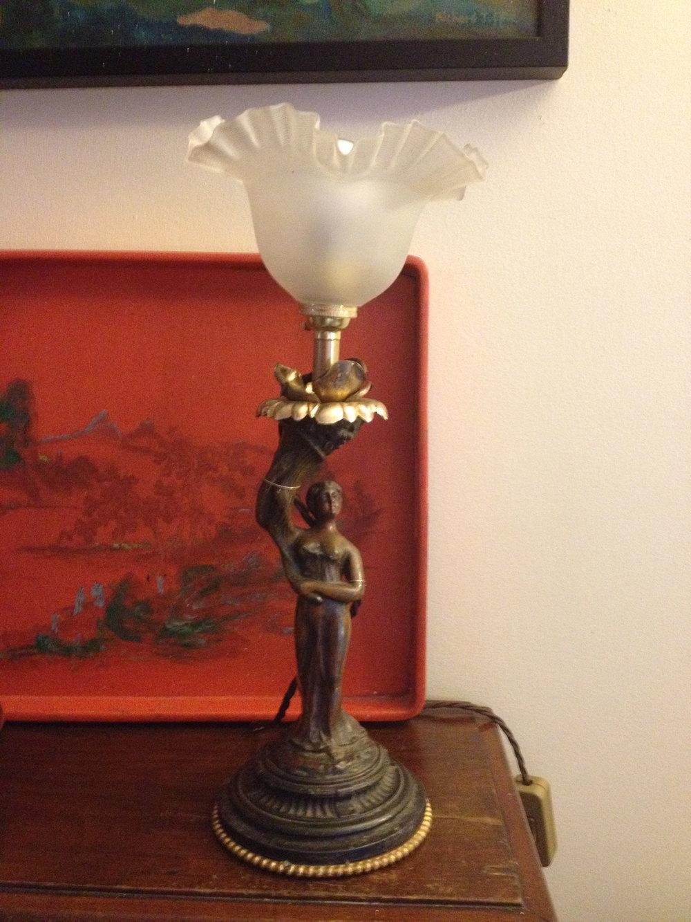 Antiques Atlas 1800 Table Lamp Bronze Statue