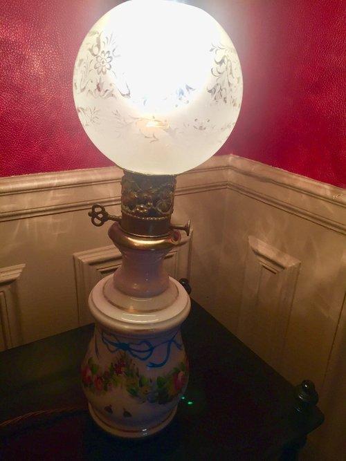 Antiques Atlas 1850 Oil Lamp Petit Paris Porcelain Enamelled