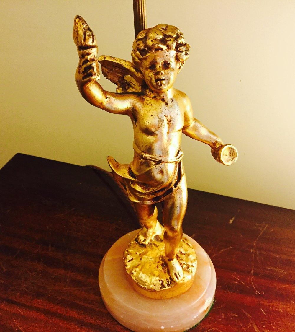 Antiques Atlas 1920 Cherub Table Lamp Gilt Bronze And Onyx