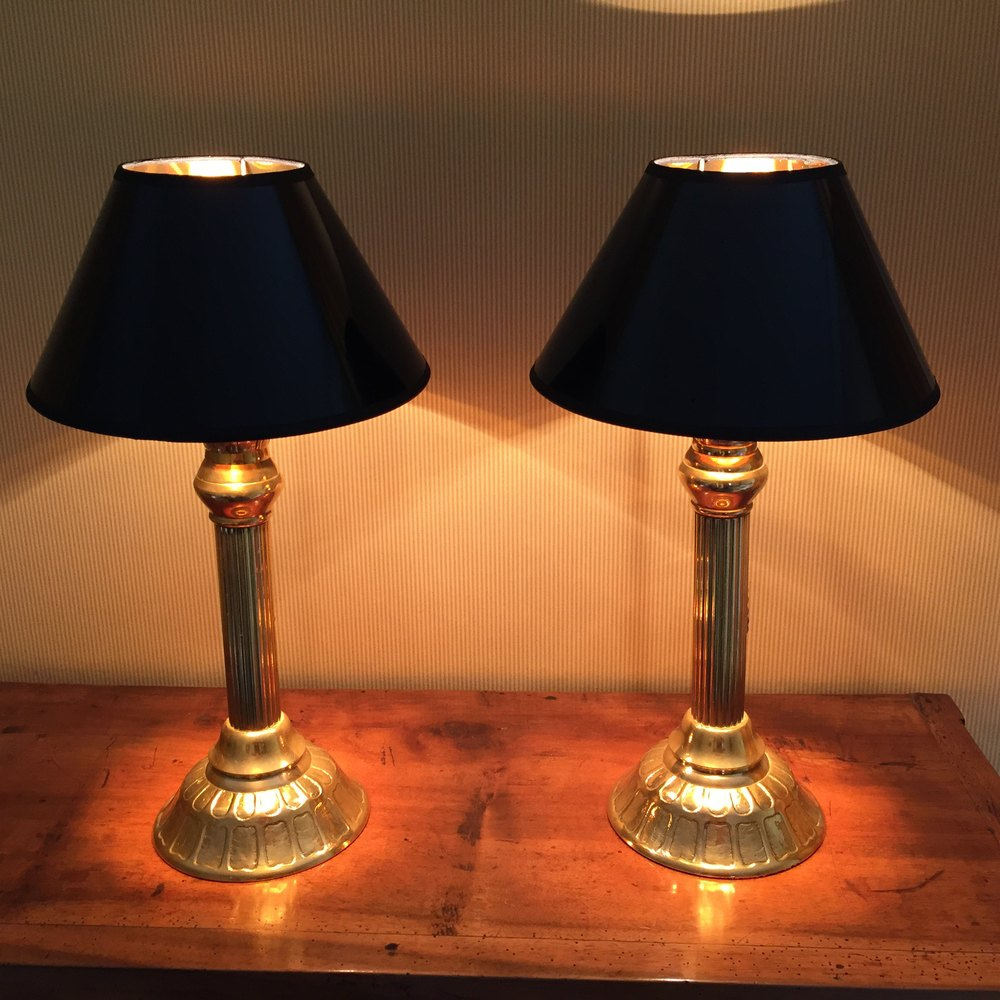 Handsome Pair Georgian Console Lamps Br