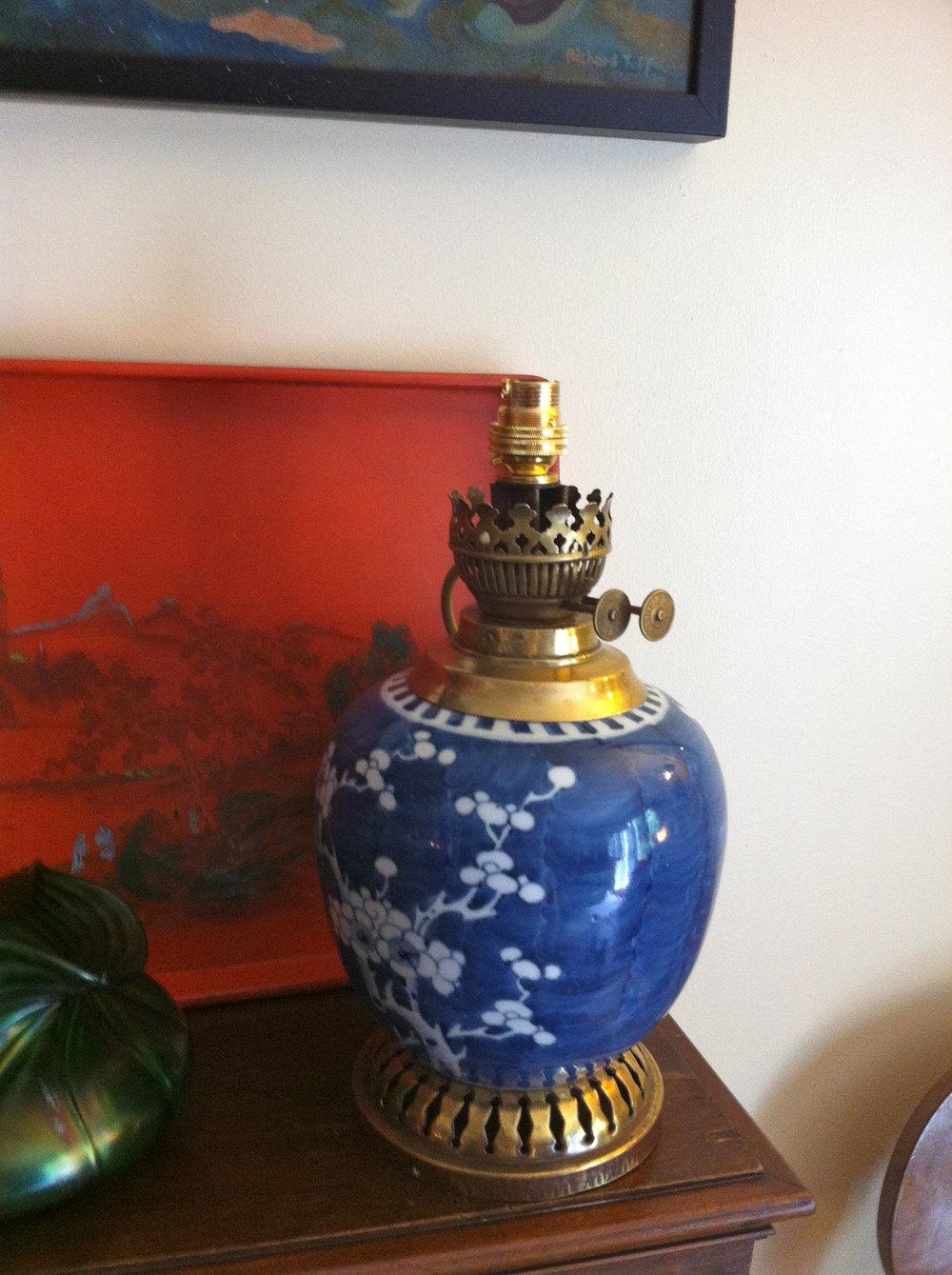 Antiques Atlas Oriental Blue And White Oil Lamp Ceramic