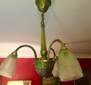 Marvelous  ChandelierO uKeeffe Antiques And Interiors Original Art Deco Three Branch