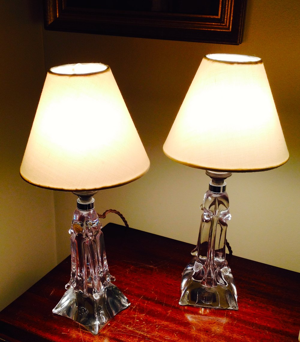 Pair 1940 Dressing Table Lamps Cristal De Lorraine ...
