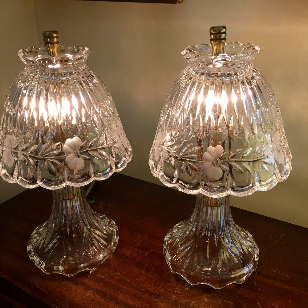 High Quality Fine Pair Crystal Boudoir Lamps Antique Lighting, Antique Glass Lamps ...