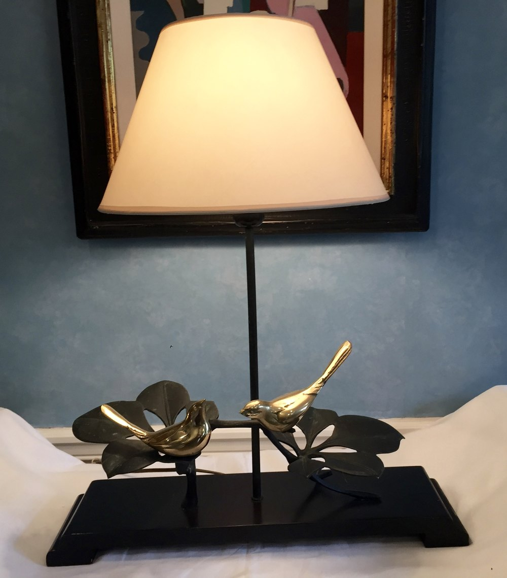 Antiques atlas unusual table lamp brass birds unusual table lamp brass birds antique lighting table lamps aloadofball Image collections