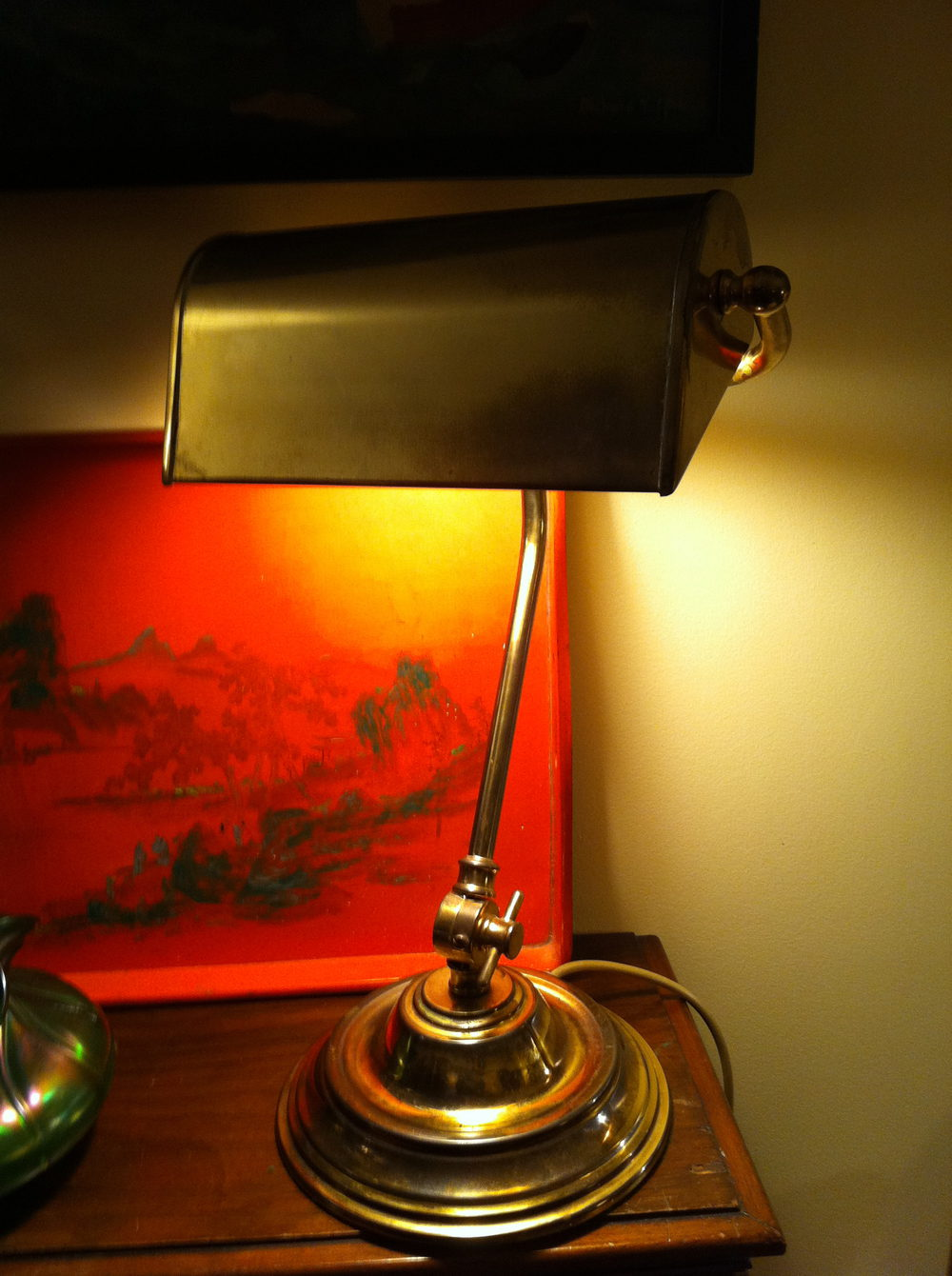 Antique Desk Bankers Lamp In Brass
