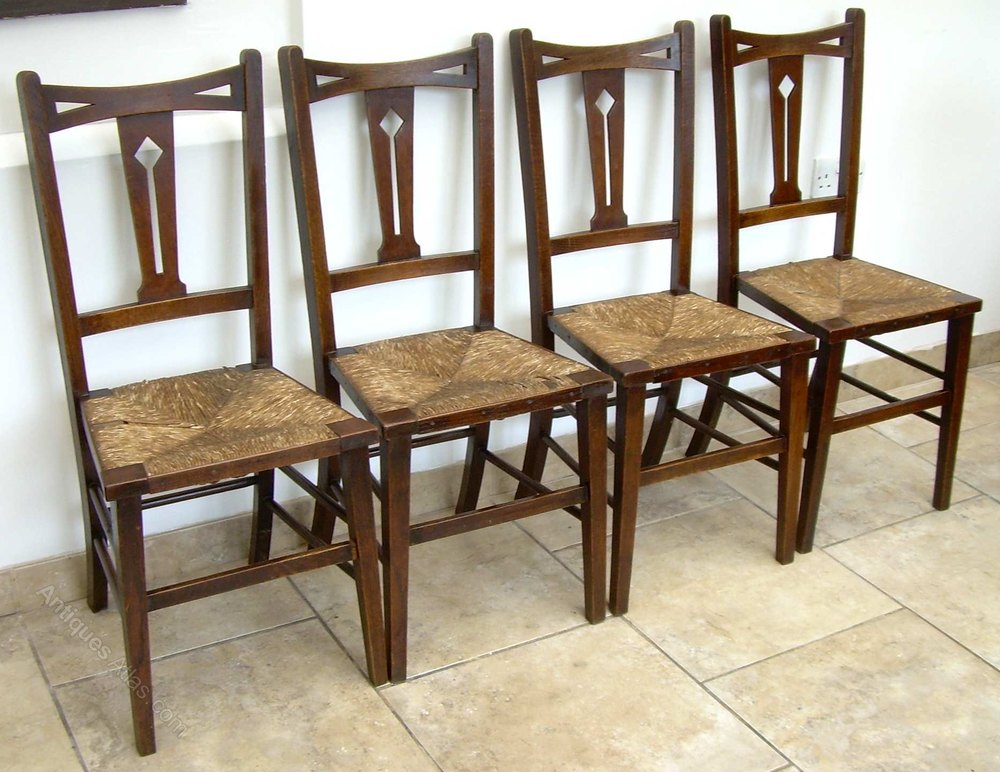 4 Arts Amp Crafts Rush Seat Dining Chairs Antiques Atlas